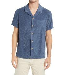 men's marine layer resort short sleeve button-up camp shirt, size small - blue