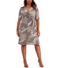connected plus size faux-wrap sheath dress