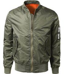 zip up bomber jacket with flap pocket