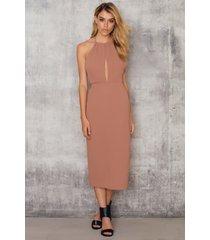 na-kd party halterneck cut out knee dress - brown,pink
