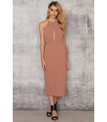 na-kd party halterneck cut out knee dress - brown,pink