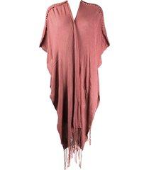caravana holom frayed cardi-coat - pink