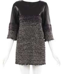 chanel black lambskin tweed mini dress black/multicolor sz: xs
