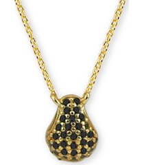 """black cubic zirconia teardrop 18"""" pendant necklace in 18k gold-plated sterling silver"""