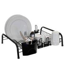 escorredor de louça cama 12 pratos 6 copos porta talheres - preto