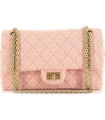 chanel pre-owned 2017 2.55 tweed shoulder bag - pink