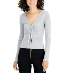 sugar moon juniors' cinched ribbed-knit sweater