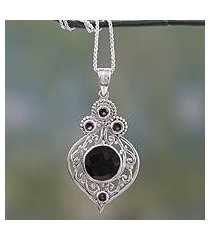 onyx and garnet pendant necklace, 'delhi hope' (india)