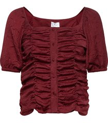 vita top blouses short-sleeved röd hosbjerg