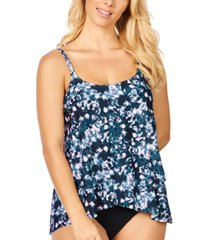 island escape calypso cape town printed draped underwire tankini, created for macy's women's swimsuit