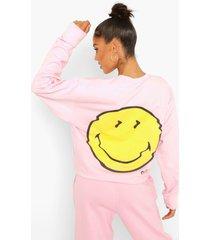gelicenseerde smiley sweater, pink
