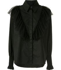 andrea bogosian rhomus tulle-detail shirt - black