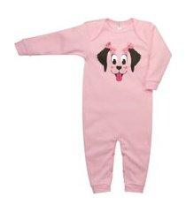 macacão longo suedine nigambi cachorrinha rosa