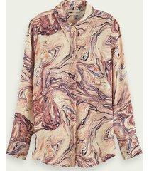 scotch & soda blouse met knoopsluiting en print