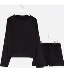 womens our day to day plus shorts lounge set - black