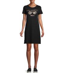 karl lagerfeld paris women's sequin-embellished t-shirt dress - black - size xl