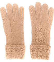 n.peal cable knit cashmere gloves - neutrals