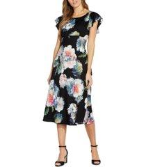adrianna papell floral-print midi dress
