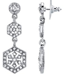 downton abbey silver-tone crystal linear post drop earrings