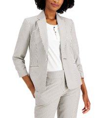 kasper striped one-button blazer