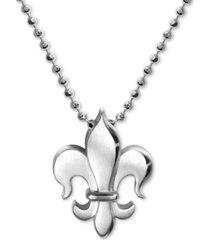 """alex woo fleur-de-lis 16"""" pendant necklace in sterling silver"""