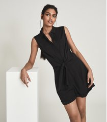 reiss gemma - playsuit with self tie bow detail in black, womens, size 12