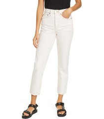 women's re/done originals high waist stove pipe jeans, size 30 - ivory