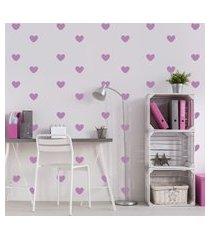 adesivo de parede infantil coraçáo lilás