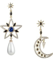eye candy la women's luxe collection star and moon 18k goldplated, 8mm shell pearl & cubic zirconia dangle earrings