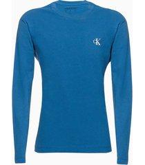 camiseta masculina infantil logo no peito manga longa azul médio calvin klein jeans - 6
