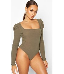 rib knit square neck puff sleeve top, olive