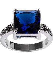 anel quadrado the ring boutique pedra cristal azul safira ródio ouro branco