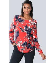 blouse alba moda rood::marine::wit
