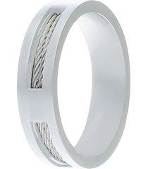 anello in acciaio silver con filo d'acciaio interno per uomo