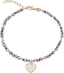 bracciale cuore in argento 925 dorato rosé, zirconi e cristalli per donna