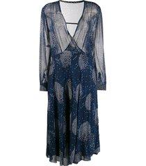a.n.g.e.l.o. vintage cult 1970's printed midi dress - blue