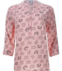 blusa estampada gatos color rosado, talla xs