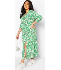 plus daisy print split front midaxi dress, green