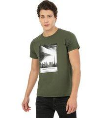 camiseta hombre verde militar rachid estampada desert