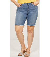 lane bryant women's signature fit denim bermuda short - frayed hem 16 medium denim