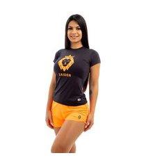 camiseta feminina poliamida preta zaiden leão laranja