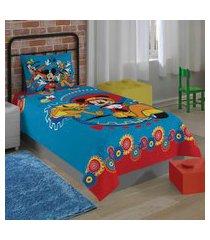 jogo de cama solteiro lepper mickey 2 peças azul