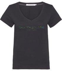 camisetas iridescent logo v-neck t-shirt negro calvin klein