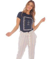 camiseta estampada azul oscuro para mujer x49577