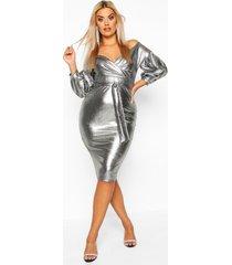 plus metallic off the shoulder midi dress, silver
