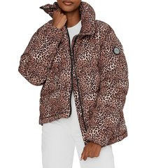 noize outerwear co. women's leopard-print quilted puffer jacket - cheetah print - size l