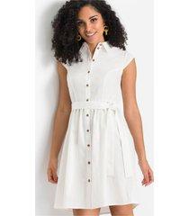 linnen jurk met knopen