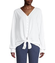 beach lunch lounge women's knotted-hem top - white - size s