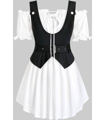 plus size off shoulder tie top and belted tank top set