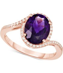 amethyst (2-1/4 ct. t.w.) & diamond (1/6 ct. t.w.) ring in 14k rose gold (also available in london blue topaz)